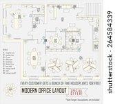 modern office interior vector... | Shutterstock .eps vector #264584339