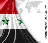 syria flag and world map... | Shutterstock . vector #264603794