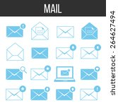 mail icons set. blue icons...