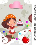 vector girl with a birthday... | Shutterstock .eps vector #264636938