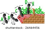 Ants having a picnic with the alphabet. - stock vector