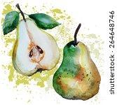 pears watercolor | Shutterstock .eps vector #264648746