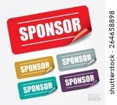 sponsor rectangle sticker and... | Shutterstock .eps vector #264658898