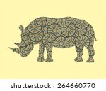 illustrations rhino  with... | Shutterstock .eps vector #264660770