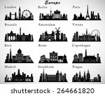 european cities skylines set.... | Shutterstock .eps vector #264661820