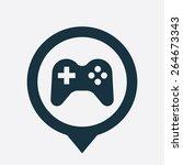 joystick icon map pin on white...