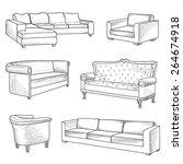 furniture set. interior detail... | Shutterstock .eps vector #264674918