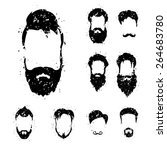 beard set with grunge style.  | Shutterstock .eps vector #264683780