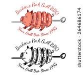 grill slice pork on roasting...   Shutterstock .eps vector #264686174