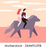 couple on a horse in a... | Shutterstock .eps vector #264691358
