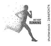 running man. the silhouette on... | Shutterstock .eps vector #264692474