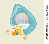 two cute monkeys holding gift... | Shutterstock .eps vector #264695123