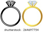 engagement diamond ring. | Shutterstock .eps vector #264697754