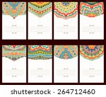 set of 8 cards with oriental... | Shutterstock .eps vector #264712460