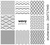 set of wavy black and white... | Shutterstock .eps vector #264717440