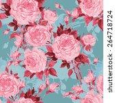 seamless pattern bouquet of... | Shutterstock . vector #264718724