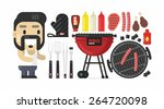 flat barbecue set | Shutterstock .eps vector #264720098