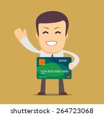 happy businessman holding a... | Shutterstock .eps vector #264723068