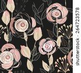 abstract flower seamless... | Shutterstock .eps vector #264723578