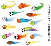 vector colorful flying balls... | Shutterstock .eps vector #264731324