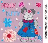 pretty bunny with flowers and... | Shutterstock .eps vector #264735356