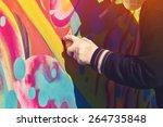 adult male graffiti artist... | Shutterstock . vector #264735848