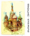 painting of st. basil's... | Shutterstock .eps vector #264745466