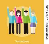 volunteer group raising hands... | Shutterstock .eps vector #264753689