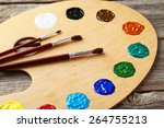 Wooden Art Palette With Paints...