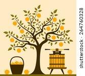 vector apple tree  basket of...   Shutterstock .eps vector #264760328