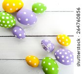 colorful easter eggs with white ... | Shutterstock . vector #264760856