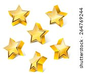 3d little golden star set with... | Shutterstock .eps vector #264769244