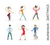 pixel art party dancing people... | Shutterstock .eps vector #264774413