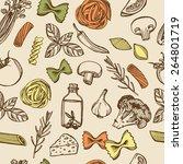 hand drawn italian pasta... | Shutterstock . vector #264801719
