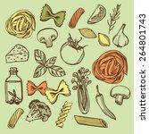 hand drawn italian pasta set.... | Shutterstock . vector #264801743