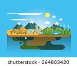 mountain landscape eco flat... | Shutterstock .eps vector #264803420