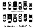 car icons top view. auto and... | Shutterstock .eps vector #264805136
