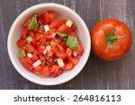 Tomato Salsa Overhead View On ...