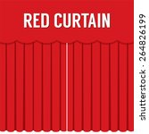 flat design red curtain vector... | Shutterstock .eps vector #264826199