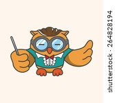 animal owl playing instrument... | Shutterstock . vector #264828194