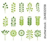 set of colorful leaves  vector... | Shutterstock .eps vector #264832058