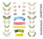 vector watercolor collection... | Shutterstock .eps vector #264837494