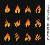 vector set of flame symbols on... | Shutterstock .eps vector #264838118
