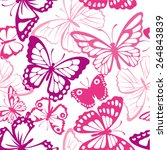Stock vector seamless pattern with butterfly summer pink background with butterfly silhouettes 264843839