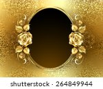 Stock vector oval banner with two gold roses on a background of gold brocade 264849944