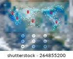 world map connection with... | Shutterstock .eps vector #264855200