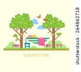 summer landscape with a hammock ... | Shutterstock .eps vector #264862718