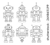 set of different cartoon robots....   Shutterstock .eps vector #264865199