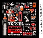 travel to england set. | Shutterstock .eps vector #264870290