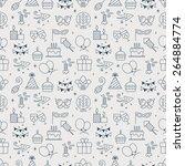 birthday line icon pattern set | Shutterstock .eps vector #264884774